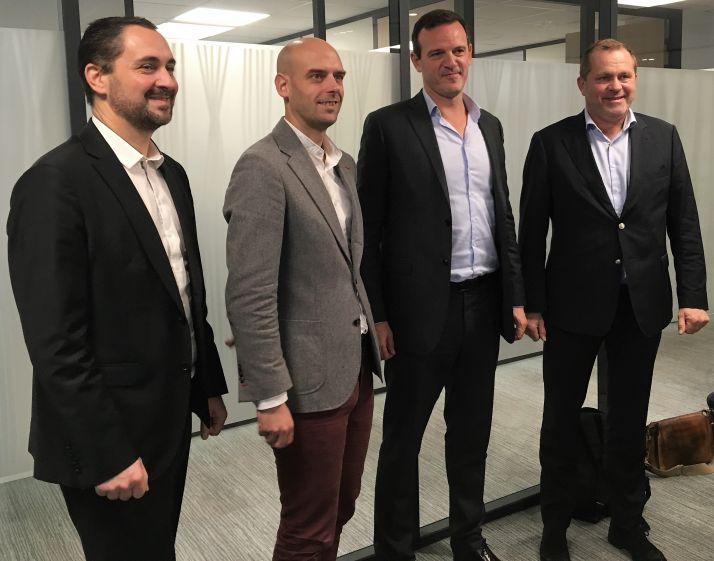 Bioline Insurance lance une offre assurance récolte plus attractive pour les agriculteurs, de gauche à droite Matthieu Denier, Antoine Poupart, Florian Dupuy et Laurent Martel