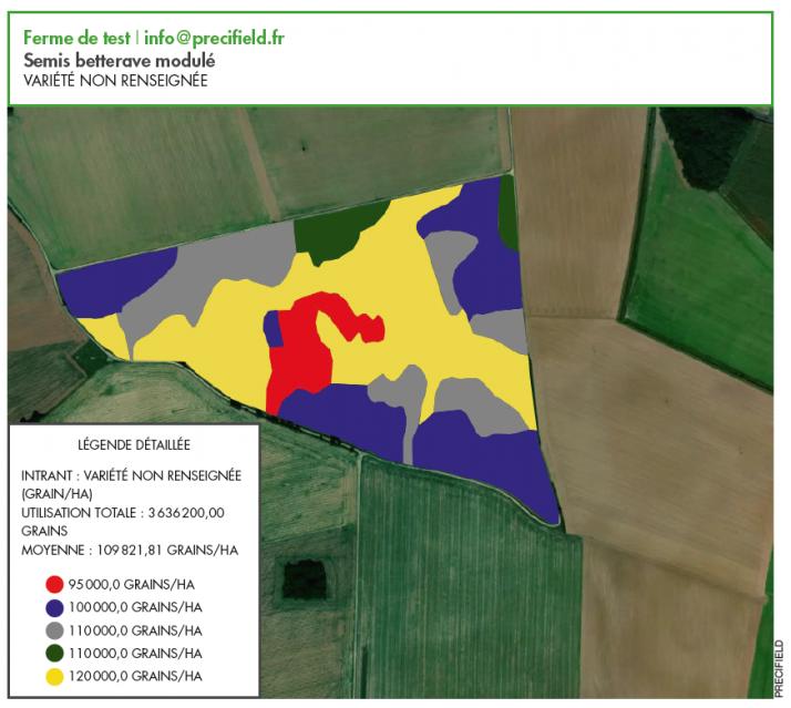 C'est une carte d'application comme celle-ci qui indique au semoir la densité à appliquer en fonction de la zone où il se trouve.