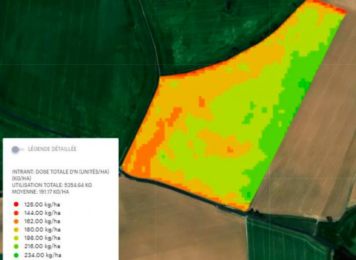 Le module azote sur blé prend en compte l'objectif de rendement pris en compte dans le calcul du plan prévisionnel de fumure et le potentiel de rendement en place.