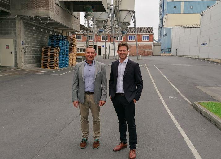 Thierry Liévin, directeur général de Soufflet Alimentaire (à g.) et Amaury Demeestere, responsable de l'équipe commerciale pour la vente des ingrédients chez Soufflet Alimentaire.