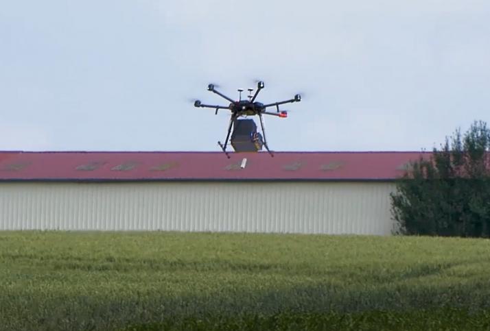Drone pour diffusion trichogrammes. Crédit : Cérésia
