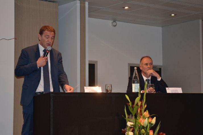 Laurent Bué (à gauche) et Joël Ratel, respectivement président et directeur de Nord Céréales ont présenté le bilan de 2018-2019 lors de l'AG de la Sica.