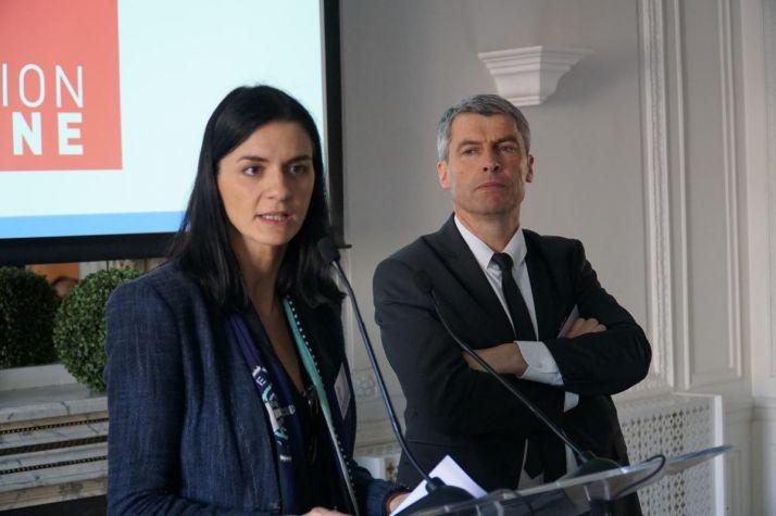 Emmanuel Macron était représenté par Audrey Bourolleau, dirigeante de Vin et société et Olivier Allain, éleveur de vaches allaitantes en Bretagne. Photos : SNPAR