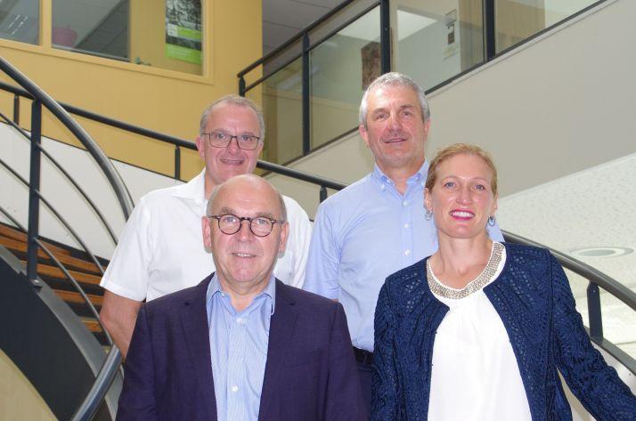 De gauche à droite et de haut en bas: Gino Boismorin, directeur général, Bernard Béjar, directeur général adjoint, Yves Gidoin, vice-président et Séverine Darsonville, présidente. Crédit: M-D Guihard/Pixel 6 TM