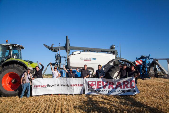 Evrard bat le record du monde de pulvé en 1h. Photo: Evrard