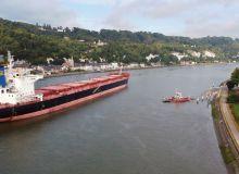 Le navire Bregaglia est venu chargé 59400 tonnes début juin. Crédit: Haropa Port de Rouen