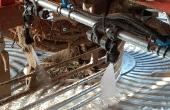 L'appareil de pulvérisation de la chaux liquide est placé sur la machine à récolter. Crédit Tereos